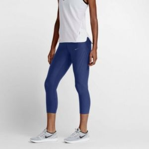 Nike Women's Blue Power Epic Run Capri Tights L